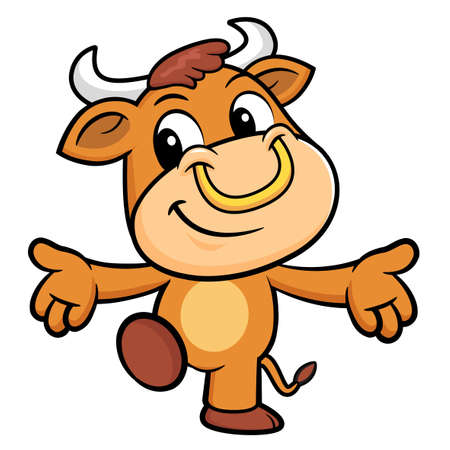 welcomed: Bull Character has been welcomed with both hands. Illustration