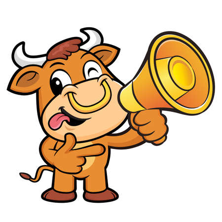has: Bull Character has been directed towards a megaphone.