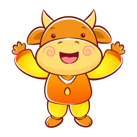 korea food: Cow Mascot has been welcomed with both hands. Illustration