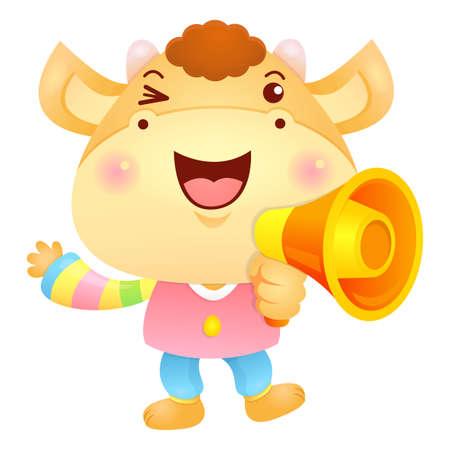korea food: Bull Mascot the hand is holding a loudspeaker. Illustration