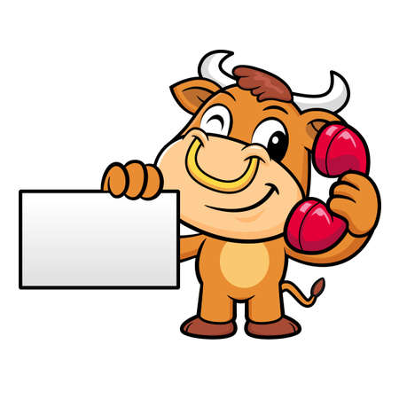 bullock: Bull Character is holding a business card and telephone.