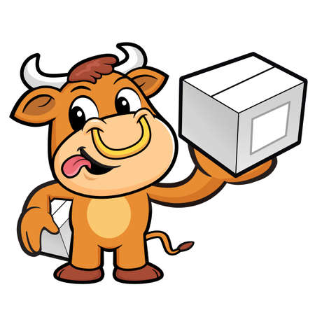 courier: Bull Character is Holding a Courier box.