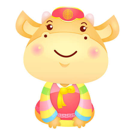 polite: Korea Traditional Cow Mascot is a polite greeting.