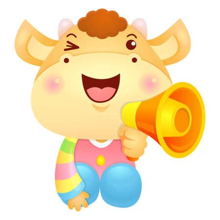 bullock: Bull Mascot the hand is holding a loudspeaker. Illustration