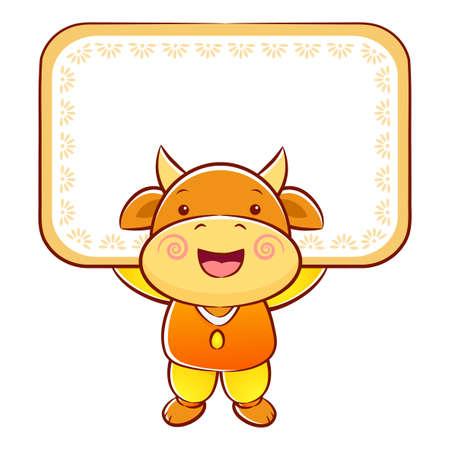 bullock: Bull Mascot holding a big board with both hands. Illustration