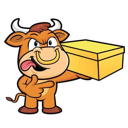 korea food: Bull Character is Holding a Fresh Food Box. Illustration