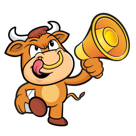 bullock: Bull Character the Left hand is holding a loudspeaker and box.