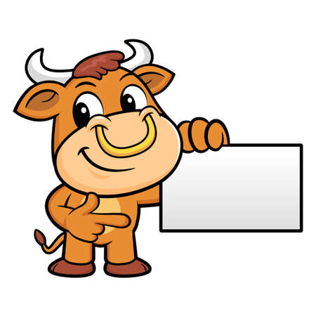 namecard: Bull Character is holding a business card.