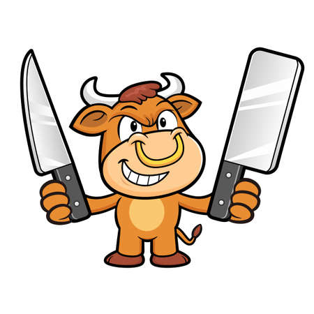 holding a knife: Bull Character is Holding a knife of both hands. Illustration
