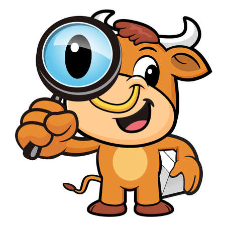 korea food: Bull Character examine a with a magnifying glass.