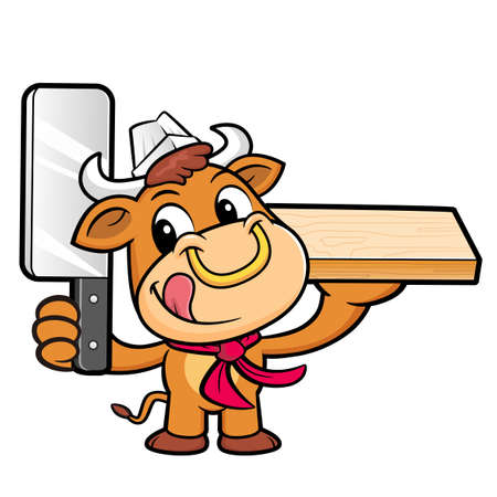 bullock: Bull Character is Holding a knife and chopping board. Illustration