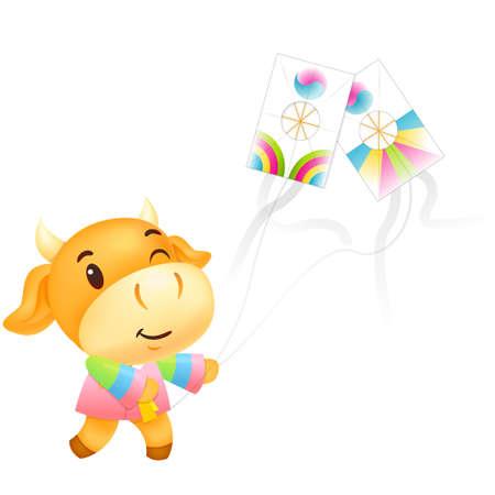 bullock: Bull Mascot hand is holding a kite.