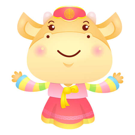 welcomed: Cow Mascot has been welcomed with both hands. Illustration