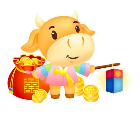 korea food: Bull Character is holding a cheongsachorong. Illustration