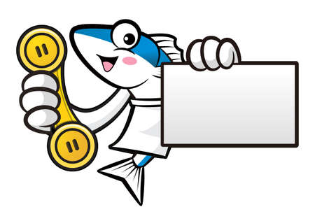 scombridae: Mackerel Fish Character is Holding a telephone and business card. Illustration