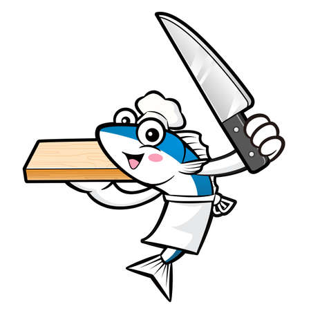 scombridae: Mackerel Fish Character is Holding a knife and cutting board.