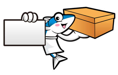scombridae: Mackerel Fish Character is Holding a Fresh Food Box and business card.