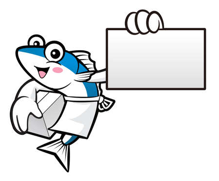 scombridae: Mackerel Fish Character is Holding a Delivery Box and business card.