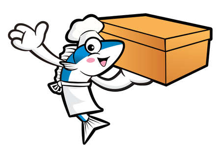 scombridae: Mackerel Fish Character is Holding a Delivery Box.