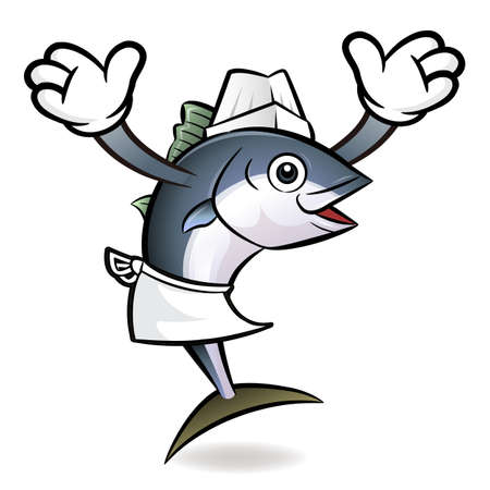 scombridae: Tuna Fish Character the direction of pointing with both hands.