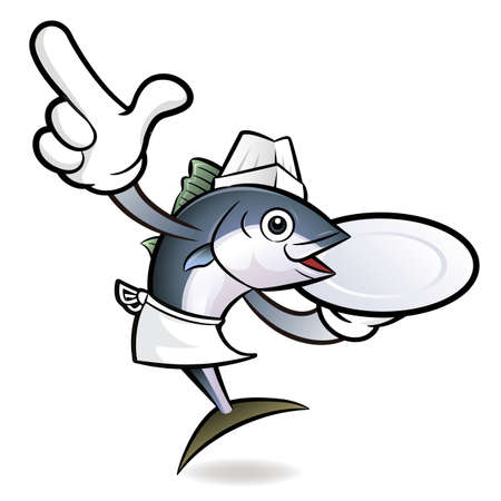 scombridae: Chef Tuna Fish Character hand is holding a Plate.