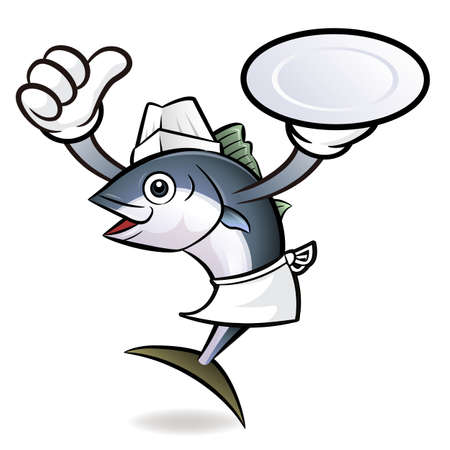 scombridae: Chef Tuna Fish Character the Left hand best gesture and right hand is holding a plate.