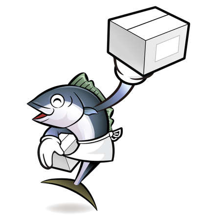 scombridae: Tuna Fish Character is Holding a Delivery Box.