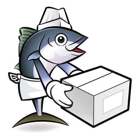 scombridae: Tuna Fish Character is Holding a Delivery Box of both hands. Illustration