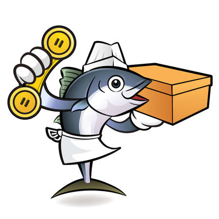 scombridae: Tuna Fish Character is holding a courier box and telephone.