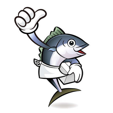 scombridae: Tuna Fish Character the best hand gesture.