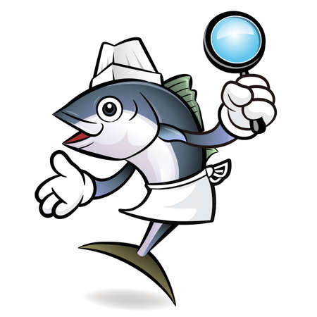 scombridae: Tuna Fish Character is holding a magnifier.
