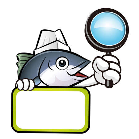 scombridae: Tuna Fish Character is holding a magnifier and board.