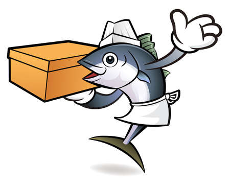 scombridae: Tuna Fish Character is Holding a Courier box.