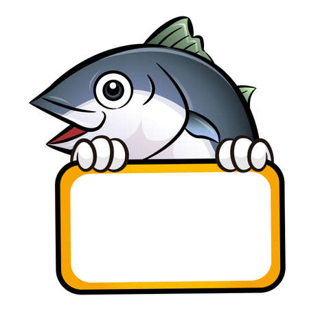 pilchard: Tuna character is Holding the banner. Illustration