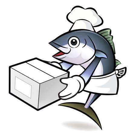 scombridae: Tuna Fish Character is Holding a Fresh Food Box.