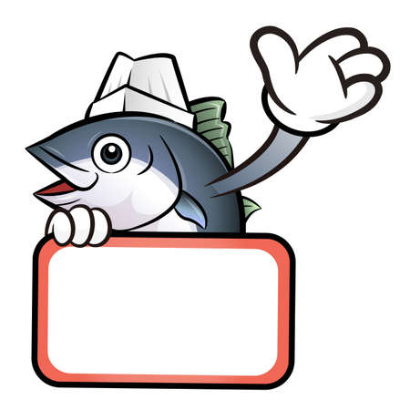 scombridae: Tuna Fish Character holding a big board. Illustration