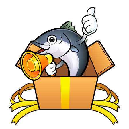 scombridae: Tuna Fish Character is in big box. Illustration