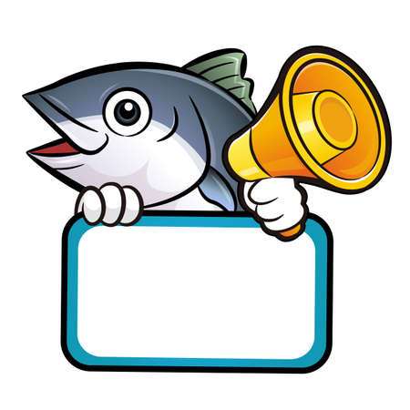scombridae: Tuna Fish Characteris holding a loudspeaker and board.