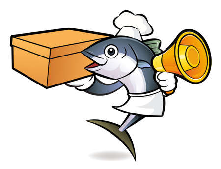 scombridae: Tuna Fish Characteris holding a loudspeaker and box. Illustration