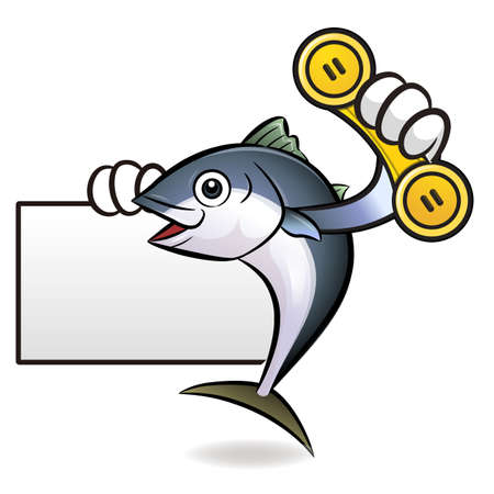 scombridae: Tuna Fish Character is Holding a phone and business card.