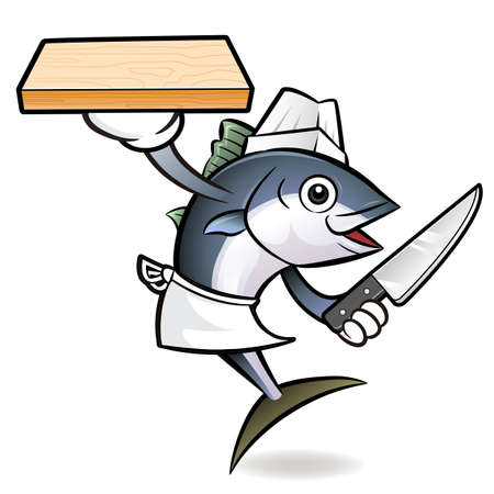 scombridae: Tuna Fish Character is Holding a knife and cutting board.