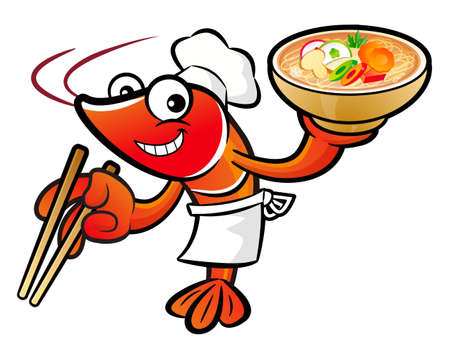 lobster pot: Shrimp Character is holding a chopsticks and soup bowl. Illustration
