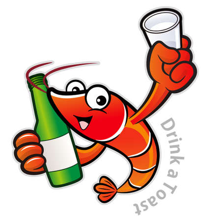 crustacea: Shrimp Character is holding a distilled spirits toast.
