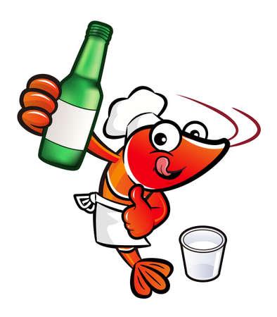 spirituous beverages: Shrimp Character is holding a bottled of distilled spirits.