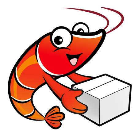 crustacea: Shrimp Character is holding a large courier box of both hands. Illustration