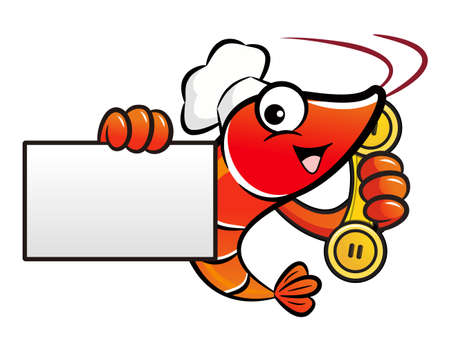 namecard: Shrimp Character is holding a business card and telephone.