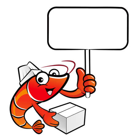 picket: Shrimp Character is holding a picket and box. Illustration