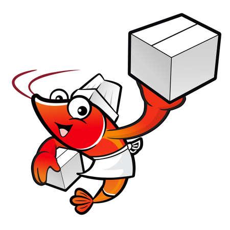 crustacea: Shrimp Character is Holding a Fresh Food Box.
