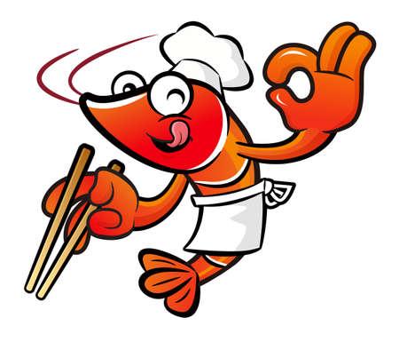 crustacea: Shrimp Character is using chopsticks skillfully. Illustration