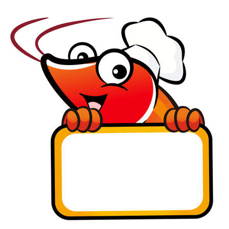 crustacea: Shrimp Character is holding a big board.
